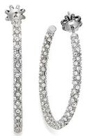 Juicy Couture Silvertone Pave Crystal Small Hoop Earrings - Lyst