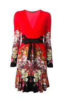 Roberto Cavalli Printed Vneck Dress