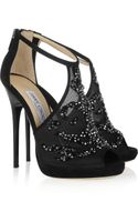 Jimmy Choo Embellished Mesh and Suede Sandals