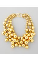 Kenneth Jay Lane Golden Beaded Cluster Necklace - Lyst