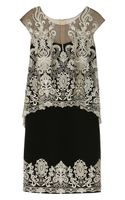 Notte By Marchesa Embroidered Silk crepe and Tulle Dress