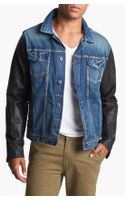 Scotch & Soda Denim Jacket with Leather Sleeves - Lyst
