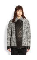 Thakoon Addition Quilted Faux Leatherpaneled Herringbone Tweed Coat - Lyst