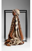 Burberry Animal Print Haymarket Check Scarf