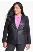 Michael by Michael Kors Faux Leather Ponte Knit Blazer