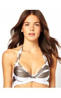 Asos Mix and Match Stripe D Plunge Halter Fuller Bust Bikini Top Df - Lyst