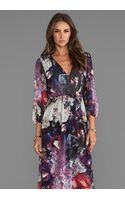 Alice + Olivia Alice Olivia Lousia Blouson Sleeve Maxi Dress in Purple