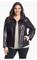Ellen Tracy Zip Front Leather Scuba Jacket - Lyst