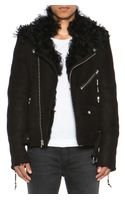 Blk Dnm Shearling Motorcycle Jacket