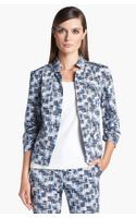 St. John Yellow Label Stamped Cross-hatch Print Sateen Jacket