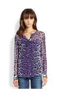 Equipment Lynn Silk Chiffon Leopardprint Blouse - Lyst