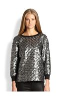 L'Agence Metallic Featheredeffect Sweater - Lyst