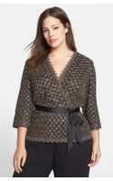 Alex Evenings Embellished Lace Faux Wrap Blouse
