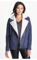 Leith Faux Shearling Lined Moto Jacket - Lyst
