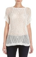 Thakoon Open Crochet Knit Short Sleeve Sweater