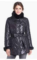 Via Spiga Genuine Rabbit Fur Trim Quilted Coat