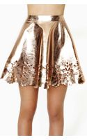 Nasty Gal Reverse Metal Petal Faux Leather Skater Skirt