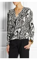 Etro Printed Wrapfront Silk Top