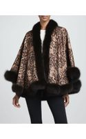 Sofia Cashmere Fox Furtrim Pythonprint Cashmere Cape