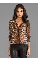 Equipment Lynn Contrast Magic Leopard Blouse in Brown