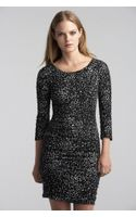 Velvet By Graham & Spencer Jessica Ruched Feline Print Dress