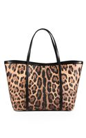 Dolce & Gabbana Leopardprint Coated Canvas Tote - Lyst