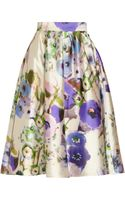 Lela Rose Floral print Satin Skirt