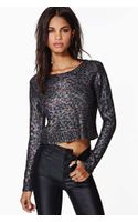 Nasty Gal Prowl The Night Coated Crop Top