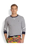 Polo Ralph Lauren Striped Atlantic Terry Crewneck Pullover - Lyst
