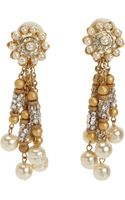 Vintage Crystal Pearl Fringe Earrings - Lyst
