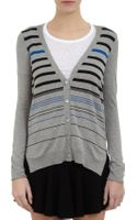 Barneys New York Striped Boyfriend Cardigan - Lyst
