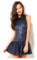 Akira Drop Waist Sequin Dress In Blue