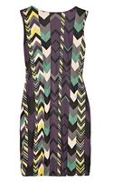 M Missoni Chevronprint Gathered Jersey Dress - Lyst