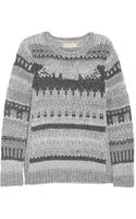 Michael by Michael Kors Metallic Paneled Chunky Knit Sweater