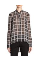 10 Crosby by Derek Lam Sheer Plaidprint Pleatedback Blouse