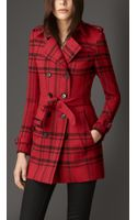 Burberry Short Check Technical Wool Trench Coat - Lyst