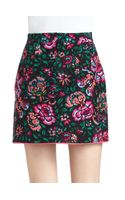 Nanette Lepore Blossom Cotton Silk Printed Faux Wrap Skirt