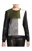 Tibi Nelio Printed Leather sleeve Sweatshirt