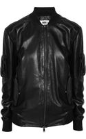 Maison Martin Margiela Leather Bomber Jacket - Lyst