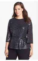 Alex Evenings Sequin Blouse with Satin Tie