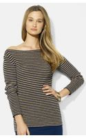 Lauren by Ralph Lauren Stripe Bateau Neck Knit Top - Lyst