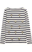J.Crew Embellished Striped Cottonjersey Top