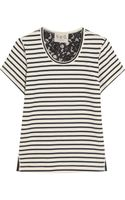 Sea Lace Backed Striped Cotton Jersey T-Shirt