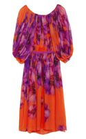 Giambattista Valli Pleated Floral print Silk chiffon Dress - Lyst