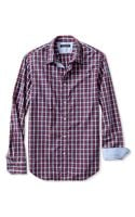 Banana Republic Tailored Slim Fit Soft Wash Multi Plaid Shirt Ranger Red