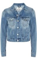 Acne Cropped Denim Jacket - Lyst
