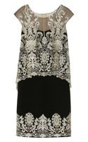 Notte By Marchesa Embroidered Silkcrepe And Tulle Dress - Lyst