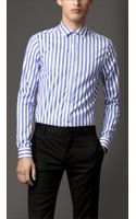 Burberry Slim Fit Wide Stripe Cotton Shirt - Lyst