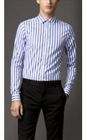 Burberry Slim Fit Wide Stripe Cotton Shirt