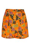 River Island Orange Retro Print High Waisted Shorts
